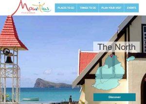 Home del sito web ente turismo Mauritius
